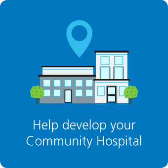 help develop community hospitals button