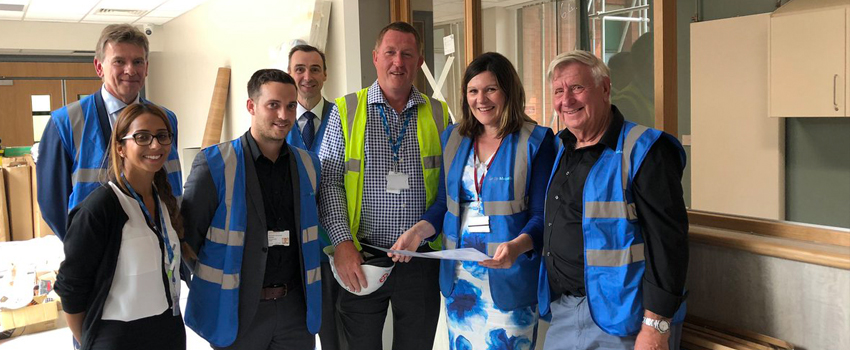 Trust staff with Cllr John Smith during Aconbury North clinic build