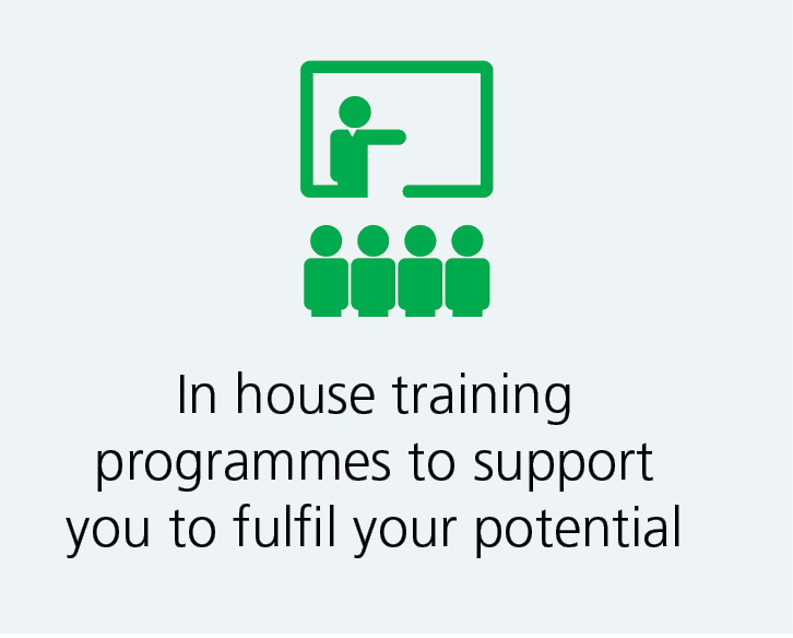 We provide in house training